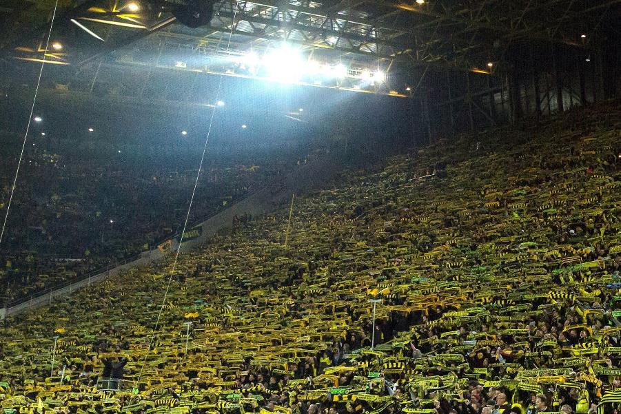德甲本赛季主场观众人数排名出炉 第一毫无争议!